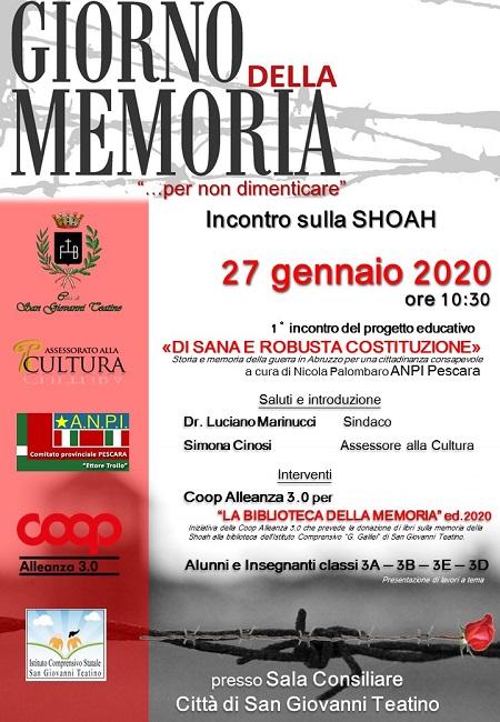 Giorno della Memoria, le iniziative del Comune di San Giovanni Teatino