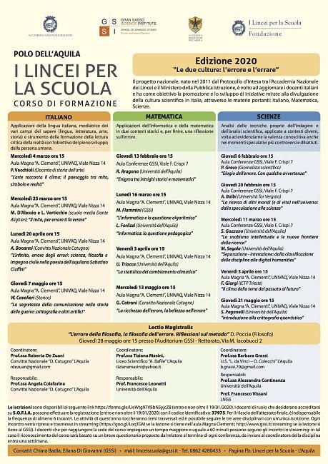 """L'Aquila, al GSSI primo appuntamento di """"Lincei per la scuola"""""""