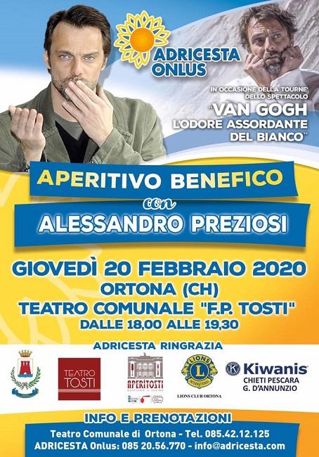 Aperitivo solidale con Alessandro Preziosi al Teatro Tosti di Ortona