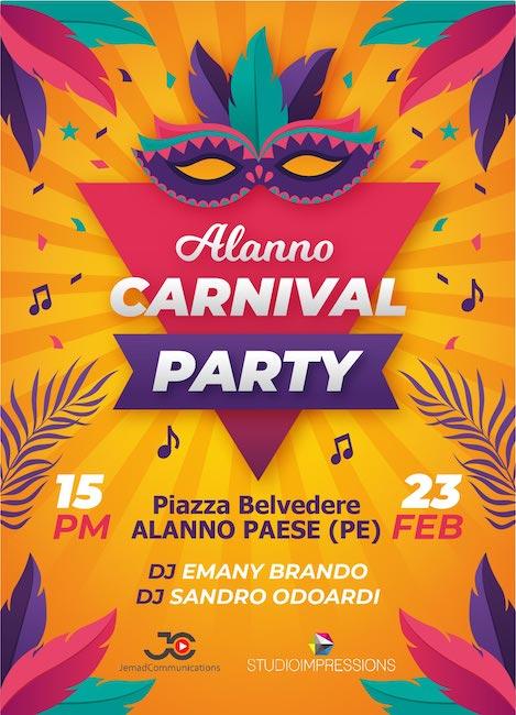 Carnival Party ad Alanno: sfilata di carri allegorici, musica e street food