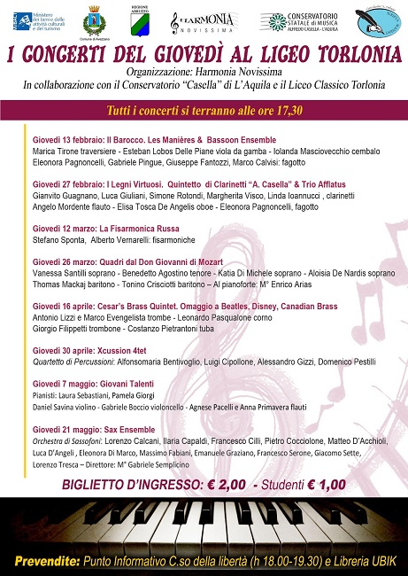 Avezzano, i concerti del giovedì del Liceo Classico Torlonia