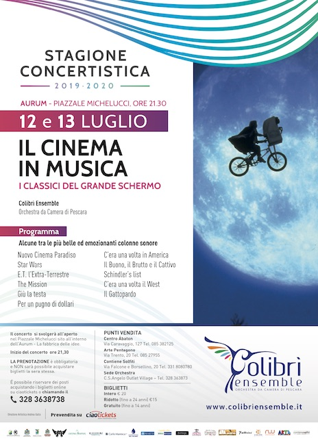 il cinema in musica 12-13 luglio 2020