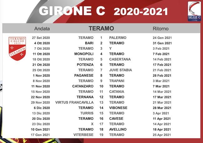calendario teramo calcio 2020-2021