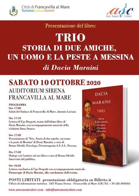 """Dacia Mariani presenta """"Trio. Storia di due amiche"""" a Francavilla"""