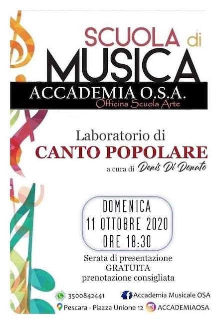 lavoratorio canto popolare 11 ottobre 2020