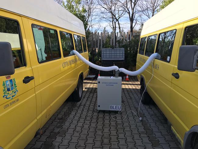 sanificazione scuolabus pescara foto
