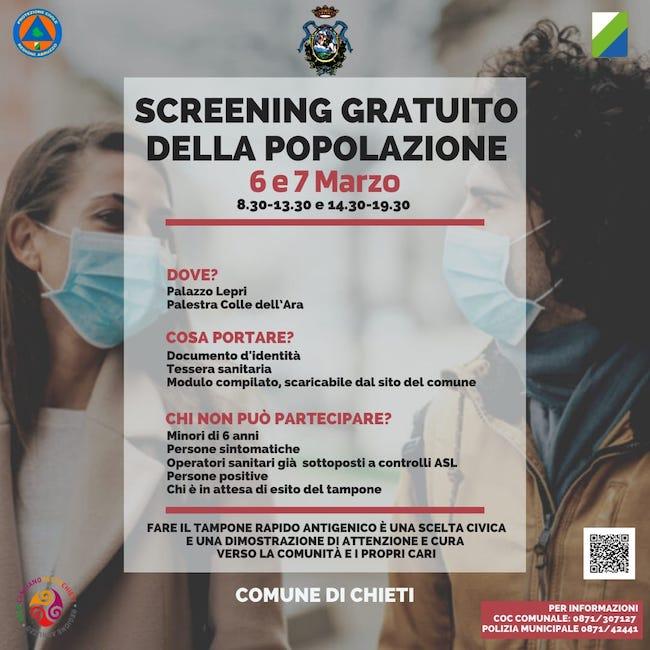 screening gratuito chieti 6-7 marzo 2021