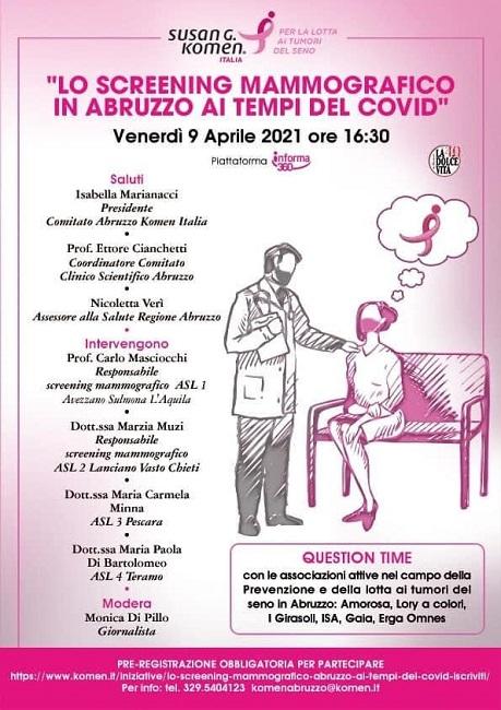 Locandina webinar lo screening mammografico in abruzzo ai tempi del Covid