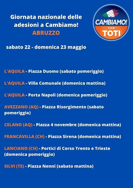 Banchetti Cambiamo Abruzzo 22-23 maggio