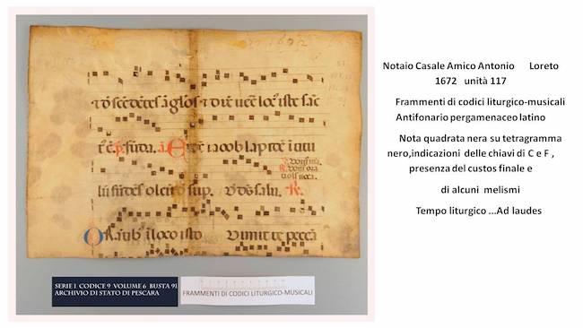 Pergamene musicali notaio Casale Amico Antonio 1672 loreto tempo liturgico ad laudes