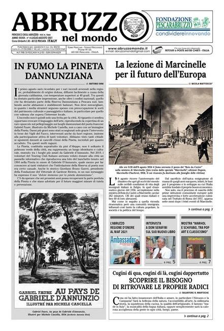 Abruzzo nel Mondo n. 4 luglio-agosto 2021_Prima pagina